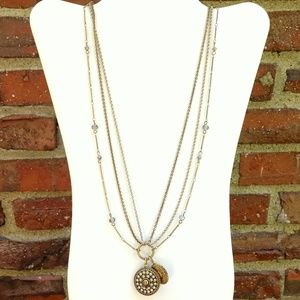 Long multi strand pendant and locket necklace